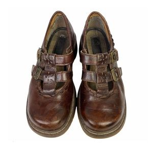 Y2K Dr. Martens Vintage 12161 Brown Leather Mary Janes Double Buckle Laser Cut 6